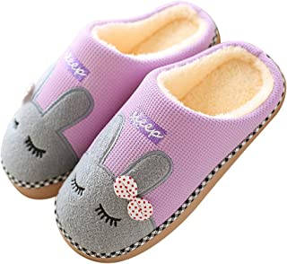 techcity Men's and Women's Memory Foam Slippers Cute Plush Bunny House Slippers Slip On Shoes w/Indoor,Outdoor Anti-Skid Sole