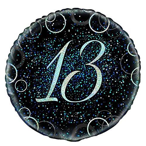 Unique Party 5580445,7cm Glitz Blau Folie 13. Geburtstag Ballon