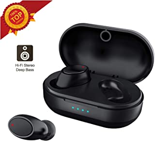 $39 » Bluetooth Headphones True Wireless Earbuds, TWS Waterproof 5.0 Earphones with Charging Case 15H Non-Stop Playtime Binaural HiFi Stereo Headset Microphone Pumping Bass Earpiece Noise Canceling
