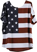 POHOK T-Shirt Blouse,Plus Size Women Fashion Loose Blouse Star Stripe USA Flag America T-Shirt