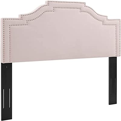 Modway Lucia Performance Velvet Twin Headboard in Pink with Nailhead Detail