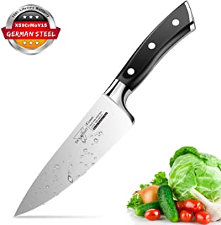 Chef Knife, 6 inch Pro Kitchen Knife Ultra Sharp Chef's Knife German High Carbon Stainless Steel Chef Cooking Knives with Ergonomic Handle
