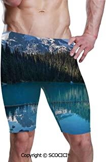 SCOCICI Men's Printed Quick Dry Jammer Swimsuit Lake Northern Canada Swim Shorts
