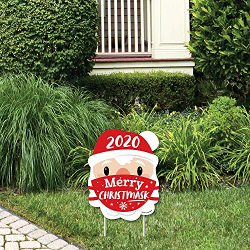 Big Dot of Happiness Merry Christmask - Outdoor Lawn Sign - 2020 Quarantine Christmas Party Yard Sign - 1 Piece
