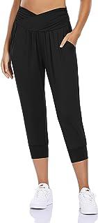 Clearlove Women's Capri Pants with Pockets Joggers Yoga Workout Pants High Waisted Harem Lounge Sweatpants