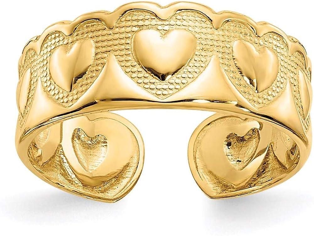 14k Yellow Gold Heart Toe Ring