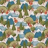 Hans-Textil-Shop Stoff Meterware Tiere im Wald und Berge im