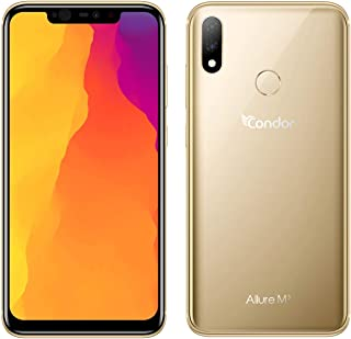 "Condor Allure M3 64GB+4GB RAM Dual Sim 6.2"" LTE Smartphone with 16+5MP Dual Rear Camera and Wireless Charging, Made in Algeria with 2 Years Warranty (Maple Gold)"