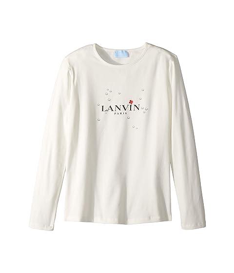 Lanvin Kids Long Sleeve Logo T-Shirt with Printed Bubbles (Big Kids)