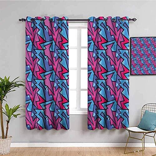ZLYYH Cortinas Color moda textura patrón 117x138cm Cortina opaca 95% cortinas opacas que bloquean cortinas para ventana para habitación de niños, sala de estar, dormitorio, juego de 2
