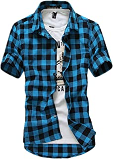 Men's Slim Fit Button Down T-Shirt - Short Sleeve Plaid Top Shirts Stylish Basic Cotton Shirt