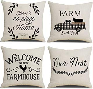 Hidecor Farmhouse Throw Pillow Covers Quote Pillow Case Cotton Linen Rustic Farm Cushion Cover for Couch Sofa Bed 18x18 Set of 4 Farmhouse Decor Housewarming Gifts