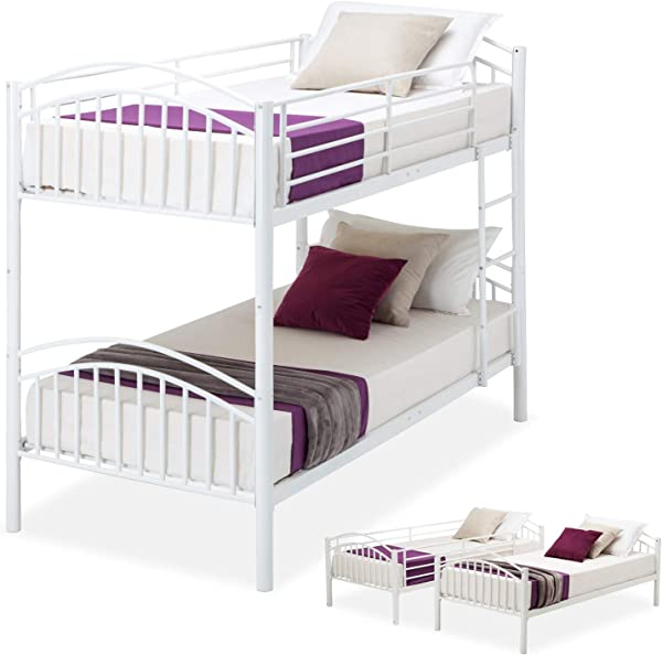 Mecor Bunk Beds Twin Over Twin Convertible Metal Bunk Bed Frame With Movable Ladder Metal Slats White