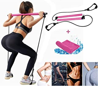 Pilates Bar, Workout Equipment for Home, Pilates Exercise Stick, Pilates Reformer Bar Portable Pilates Bar Kit with Resist...