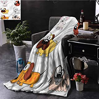 SSKJTC Dog Lover Large Throw Blanket Poodle Pug and Chihuahua Sofa Camping Reading Car Travel W80 xL60