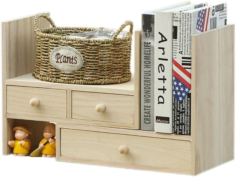 Solid Wood Simple Bookcase Desktop Shelf Desktop Retractable Book Shelf with Drawer