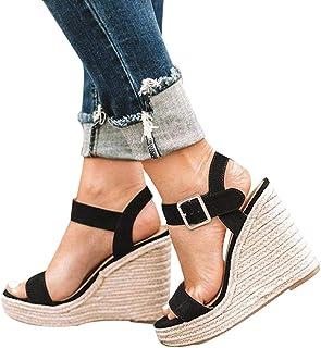 21bfe357225e75 Manooby Sandales Femmes Mode Espadrille Sandals Talon Compensé Plateforme  Été Casual Romaines Sandals Chaussures Voyage