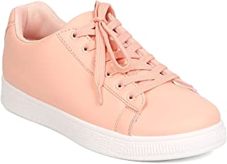 Alrisco Women Leatherette Low Top Lace Up Sneaker GC65