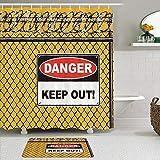 vhg8dweh Juegos de Cortinas de baño con alfombras Antideslizantes, Una Valla con Alambre de púas y patrón de señal de Advertencia de impresión Digital,con 12 Ganchos