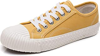FGSJEJ Lightweight & Comfortable Canvas Shoes, Women's Canvas Low Top Sneaker Lace-up Classic Casual Shoes Black and White,Women's Canvas Sneakers Casual Shoes Solid Colors