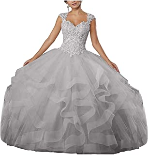 ZLQQ Women's Sweet 16 Lace Applique Beading Sleeveless Ball Gown Quinceanera Dresses