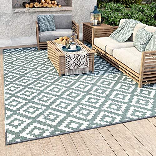 Alfombras al aire libre, 6' x 9' alfombra de paja de plástico a prueba de manchas, reversible tejida al aire libre para RV Camping, jardín, patio, picnic, Decking