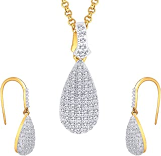 Viyari Two Tone Persian Teardrop Cubic Zirconia Pendant Necklace Drop Earrings Jewelry Set