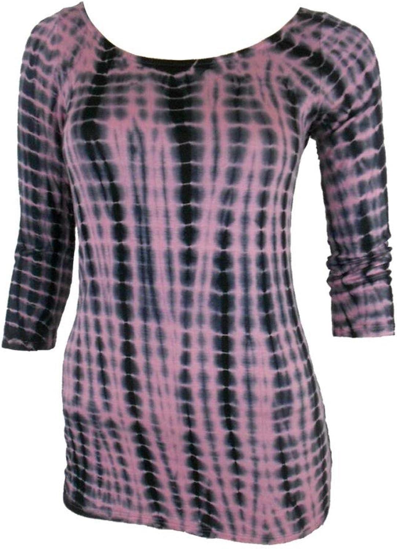 Enti Women Tie Dye Shirt Round Neck 3 4 Sleeves in Pink