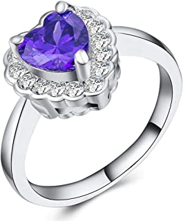 CHARHODEN Ring with Heart Shaped for Women - Silver, Size 7 US