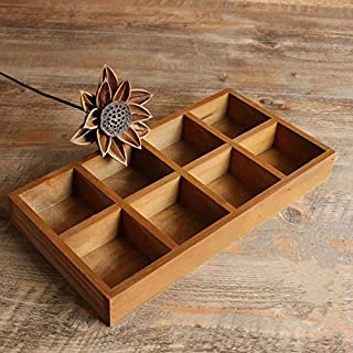 Multi-functional 8-Grid Vintage Wooden Storage Divider Box Drawer Desk Organizer Tray for Crafts,Flowers, Plants, Jewelry, Supplies from Astra Gourmet