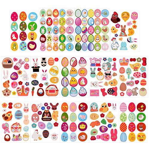 Qpout 226Piezas Pegatinas de Pascua de Niños, Conejo/ Pollo/ Huevos de Pascua Pegatinas Decoración de Manualidades de Tarjetas de Libro de Recuerdos Regalo de Fiesta