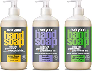 Everyone Hand Soap Variety Pack, Meyer Lemon, Lavender Coconut, and Spearmint Lemongrass, 12 oz (Pack of 3)