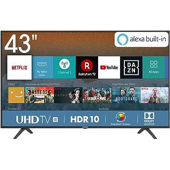 "Hisense H43BE7000 Smart TV LED Ultra HD 4K 43"", HDR, Dolby DTS, Slim Design, Tuner DVB-T2/S2 HEVC Main10, VIDAA U3.0 AI, Nero [Esclusiva Amazon - 2019]"