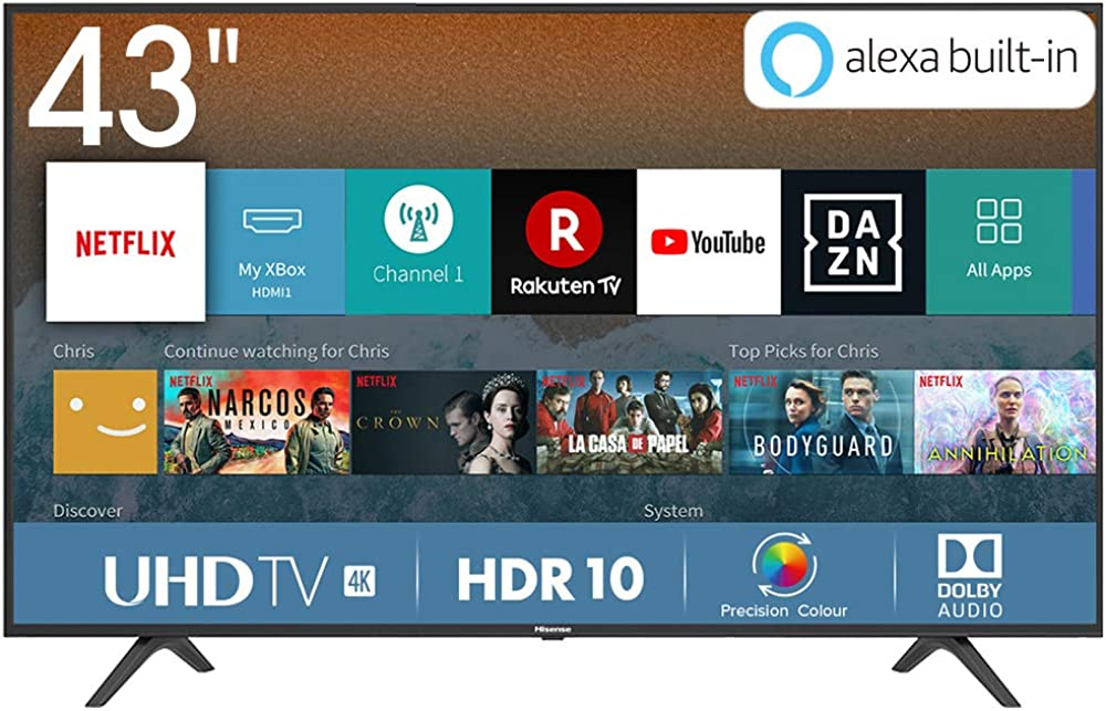 Hisense televisore smart tv led ultra hd 4k 43 pollici  hdr, dolby dts, slim design H43BE7000