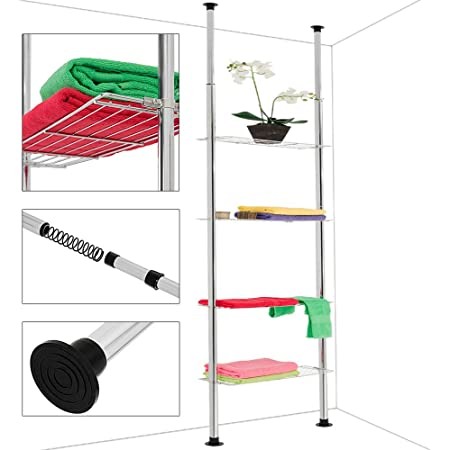 Deuba Estantería telescópica con 4 estantes de acero cromado altura ajustable 180-270 cm pies antideslizante cocina baño