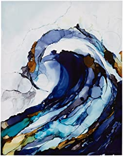 Madison Park, Liquid Waves 2 Piece Set Wall Art, Gel Coated Canvas, Modern Contemporary Design Colorful Rolling Wave, Global Inspired Painting Living Room Accent Décor, Blue Multi, 22 x 28