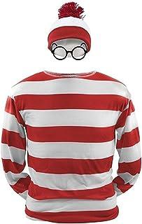 ハロウィン コスプレ ウォーリーを探せ Where's Wally 3点セット 親子ペアルック 恋人 男 女 衣装仮装 コスチューム メンズ レディース 大人用 子供用 キッズ (XXL, 男)
