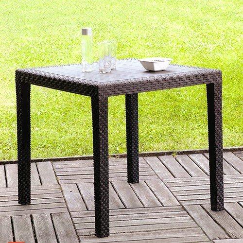 Gartentisch Schwarz Rattan-Look – 79x79cm - 5