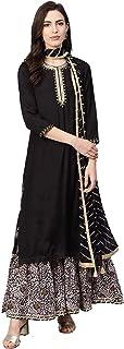 Rain & Rainbow Women's Rayon Straight Salwar Suit Set