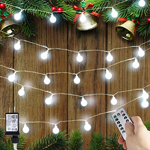 33 Feet 100 Led Mini Globe String Lights, Fairy String Lights Plug in with Remote, Decor for Indoor Outdoor Party Wedding Christmas Tree Garden (White)