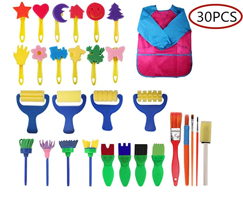 Painting Tools for Kids, 30 pcs of Fun Paint Brushes for Toddlers.Coming with Sponge Brush, Flower Pattern Brush, Brush Set, Long Sleeve Waterproof Apron
