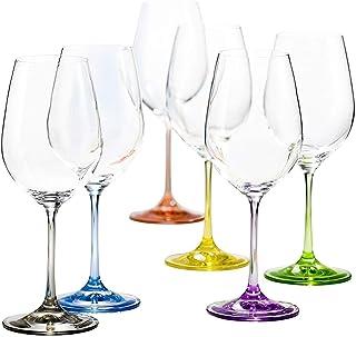 6 Verres à Vin en Cristal de Couleur - Service Color 35 cl - 6 Couleurs Pastels Assorties - Maison Klein - Artisan du Cris...