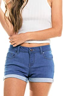 mid thigh denim shorts
