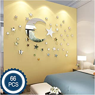ATFUNSHOP Moon and Stars Wall Stickers - 30cm Largest Moon with 66 Pieces Different Size Stars - for Baby Kid Room Decoration - Fairy Atmosphere Creation Perfect Birthday Holiday