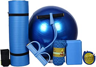 Yoga Ball Beginner Yoga mat Five-Piece Suit Fitness Suit Fitness Men and Women General Yoga Ball Yoga Towel (Color : Blue)