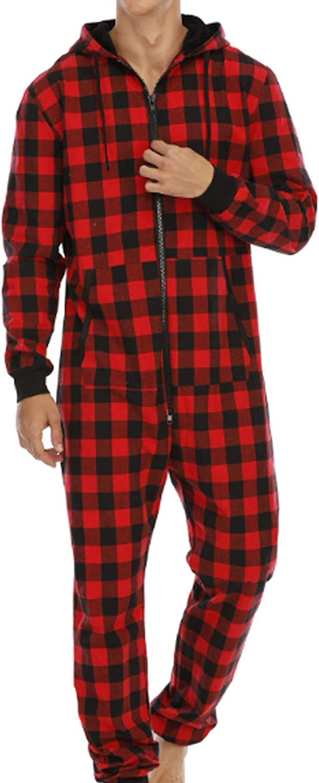 Men'S Pajama Set Long Sleeve Sleepwear For Men Red L