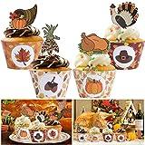 BESTOYARD Thanksgiving Cupcake topper e wrapper Cake Picks per ringraziamento Party Supplies 48 pezzi