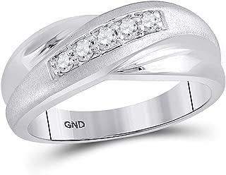 The Diamond Deal 10kt White Gold Mens Round Diamond Diagonal Row Matte Band Ring 1/4 Cttw