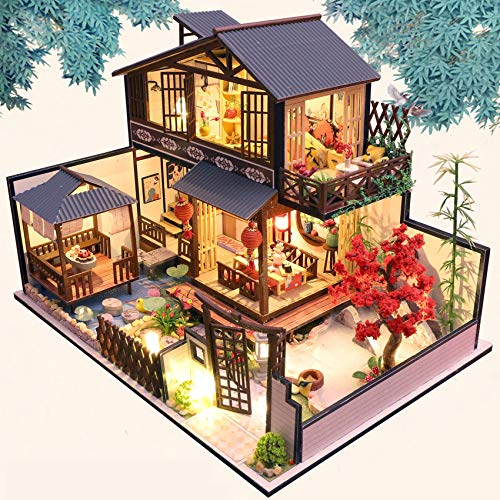 Spilay DIY Dollhouse Miniature with Wooden Furniture Kit,Handmade Mini Japanese Style Home Craft Model Plus Dust with Music Box,1:24 Scale Creative Doll House Toys for Teens Adult Gift P002