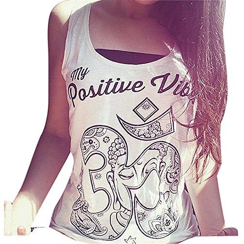 Amlaiworld Frauen im Sommer lockere ärmellos Tank T-Shirt Bluse Tops Weste (XL, Weiß)